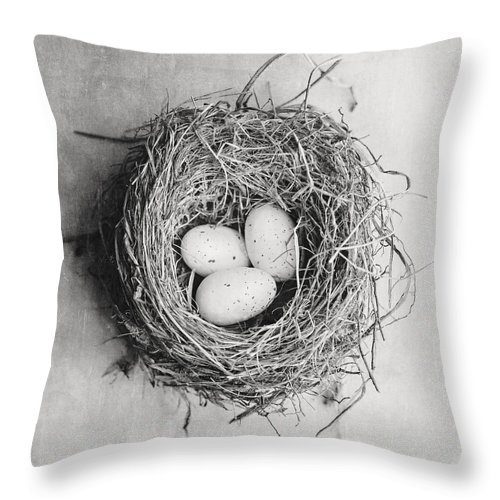 Nest Throw Pillow featuring the photograph Cottage Bird's Nest In Black And White by Lisa Russo