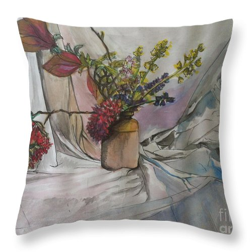 Flowers Throw Pillow featuring the painting Cottage Flowers by Michelle Deyna-Hayward