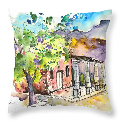 Portugal Throw Pillow featuring the painting Cottage In Barca De Alva by Miki De Goodaboom
