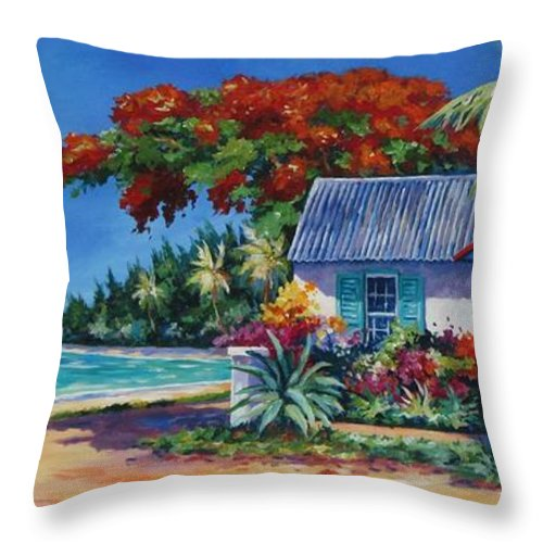 Art Throw Pillow featuring the painting Cottage On 7-mile Beach by John Clark