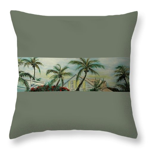 Harbor Island Throw Pillow featuring the painting Cottage Rooftops And Palm Trees Harbor Island by Barbara Dalton