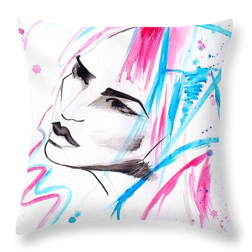 Pink Throw Pillow featuring the painting Cotton Candy Girl by Oddball Art Co by Lizzy Love