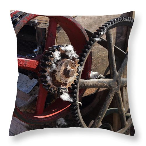 Cotton Throw Pillow featuring the photograph Cotton Gin Gears by Pat Williams