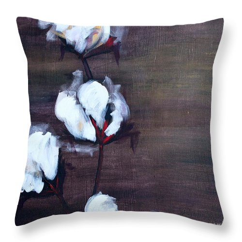 Cotton Throw Pillow featuring the painting Cotton In Red 2 by Emily Martinez