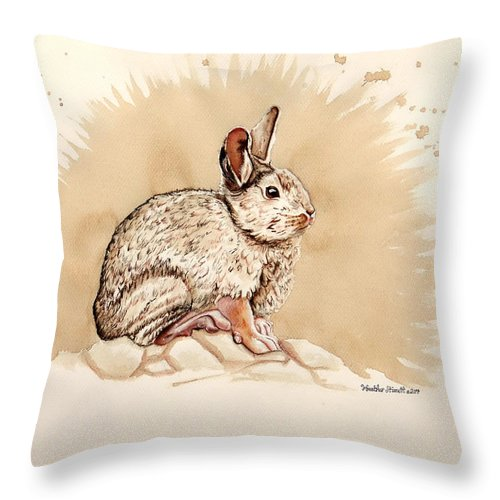 Cottontail Throw Pillow featuring the painting Cottontail by Heather Stinnett