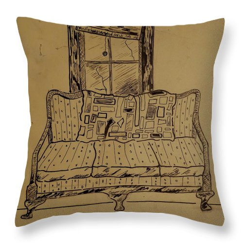 Couch Throw Pillow featuring the drawing Couch by Erika Chamberlin