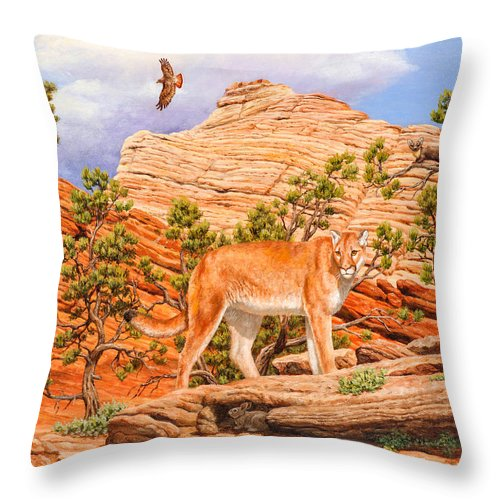 Cougar Throw Pillow featuring the painting Cougar - Don't Move by Crista Forest