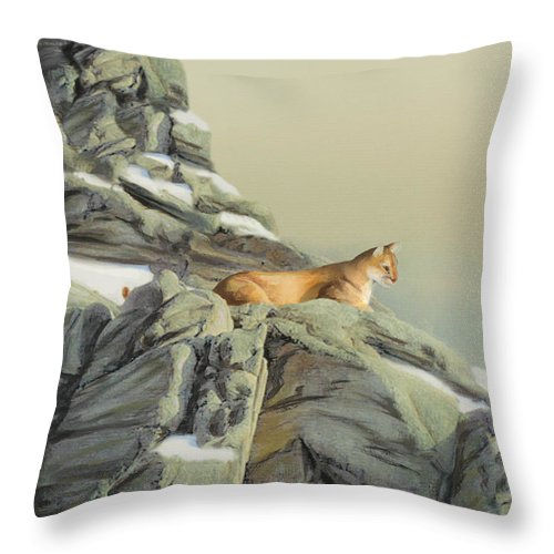 Cougar Throw Pillow featuring the painting Cougar Perch by Jane Girardot