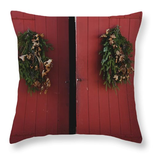 Doors; Red; Open; Barn; Entrance; Wood; Greens; Evergreen; Fir; Wreath; Christmas; Country; House; Wooden; Home; Holiday; Seasonal; Festive Throw Pillow featuring the photograph Country Christmas by Margie Hurwich