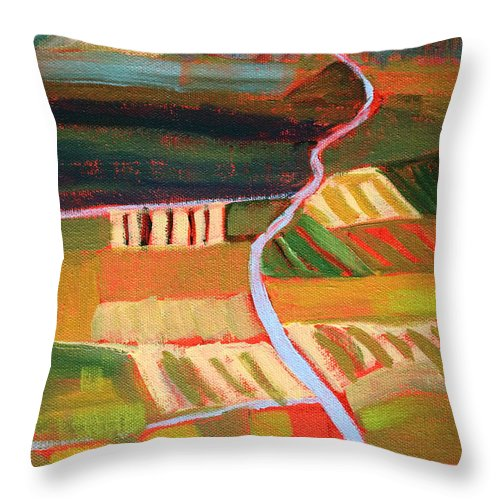 Abstract Throw Pillow featuring the painting Country Fields by Nancy Merkle
