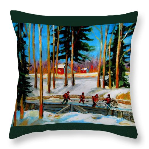 Country Hockey Rink Throw Pillow featuring the painting Country Hockey Rink by Carole Spandau