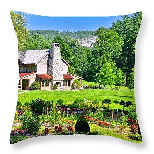 Country Throw Pillow featuring the photograph Country Inn by Frozen in Time Fine Art Photography