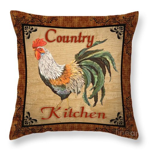 Painting Throw Pillow featuring the mixed media Country Kitchen Rooster by Jean Plout