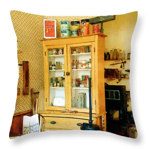 Antiques Throw Pillow featuring the painting Country Kitchen Sunshine IIi by RC deWinter