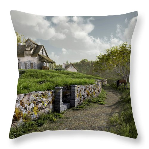 Country Throw Pillow featuring the digital art Country Road by Cynthia Decker