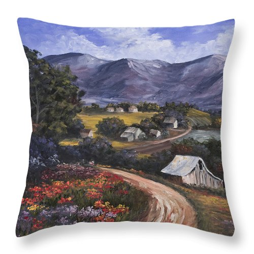 Landscape Throw Pillow featuring the painting Country Road by Darice Machel McGuire