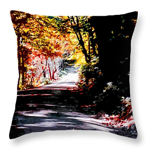 Fall Throw Pillow featuring the painting Country Road In Autumn by CHAZ Daugherty