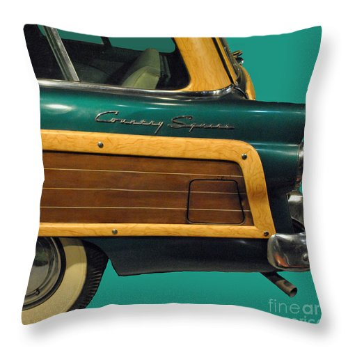 Ford Throw Pillow featuring the photograph Country Squire Wagon by Jost Houk