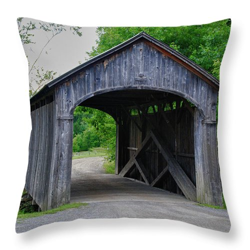 Covered Bridge Throw Pillow featuring the photograph Country Store Bridge 5656 by Guy Whiteley
