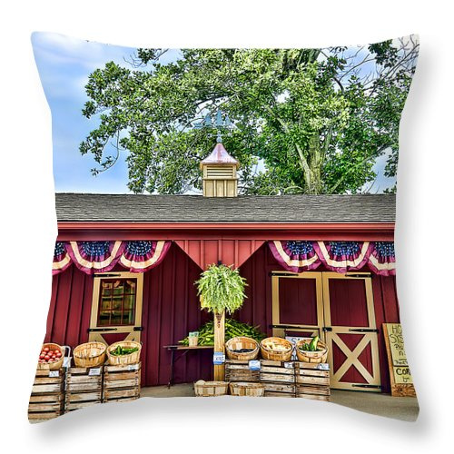 Agriculture Throw Pillow featuring the photograph Vegetable Stand by Maria Coulson