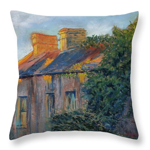 Irish Cottage Throw Pillow featuring the painting County Clare Late Afternoon by Mary Benke