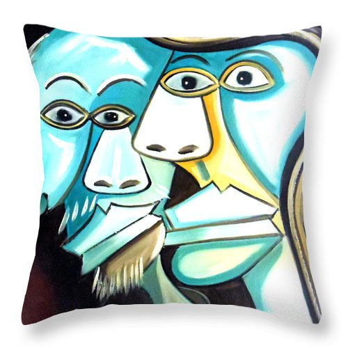 Couple Throw Pillow featuring the painting Couple by Amede Doualle
