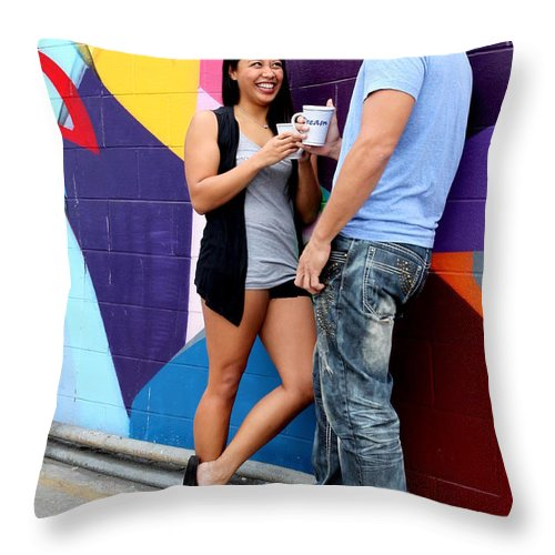 Couple Throw Pillow featuring the photograph Couple Talking by Henrik Lehnerer