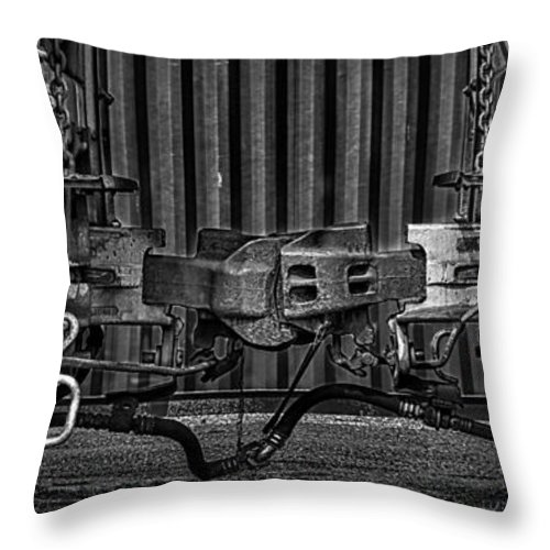 Trains Throw Pillow featuring the photograph Coupled In Ride Mode by Bob Orsillo