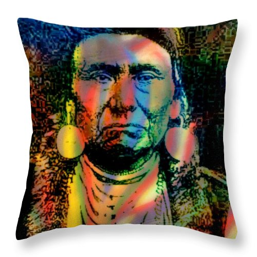 Native American Throw Pillow featuring the mixed media Courage Chief Joseph by Wendie Busig-Kohn