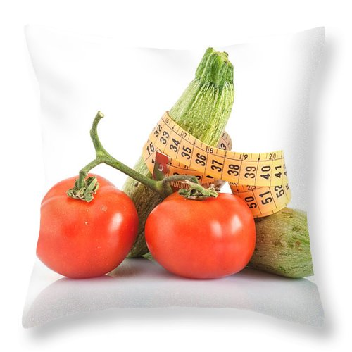 Background Throw Pillow featuring the photograph Courgettes And Tomatoes by Antonio Scarpi