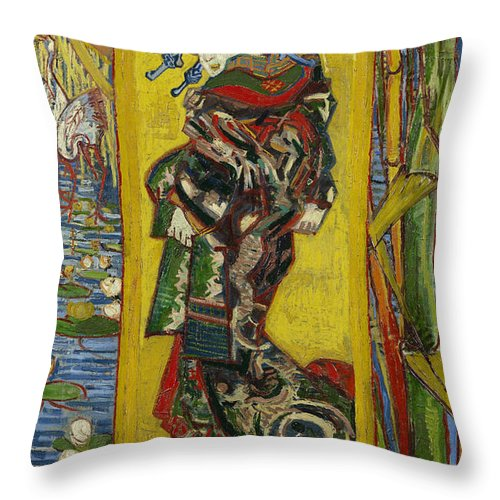 Vincent Van Gogh Throw Pillow featuring the painting Courtesan by Vincent van Gogh