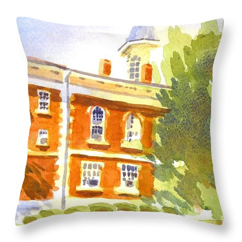 Courthouse In August Sun Throw Pillow featuring the painting Courthouse In August Sun by Kip DeVore