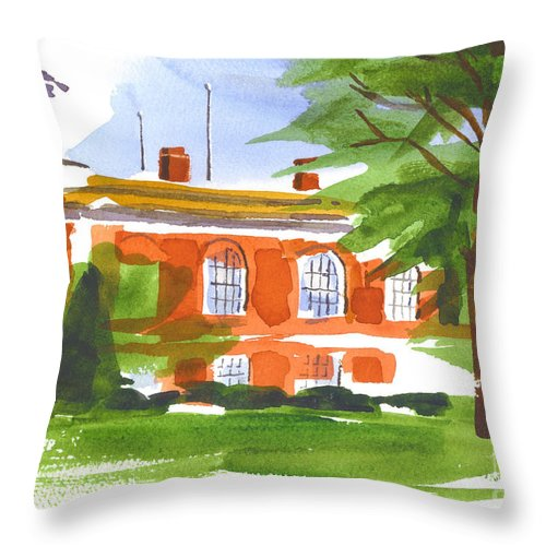 Courthouse On A Summers Evening Throw Pillow featuring the painting Courthouse On A Summers Evening by Kip DeVore