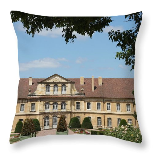 Cloister Throw Pillow featuring the photograph Courtyard Cloister Cluny by Christiane Schulze Art And Photography