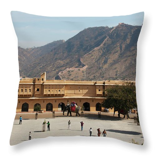 Shadow Throw Pillow featuring the photograph Courtyard Of Amer Fort, Rajasthan by Bjarte Rettedal