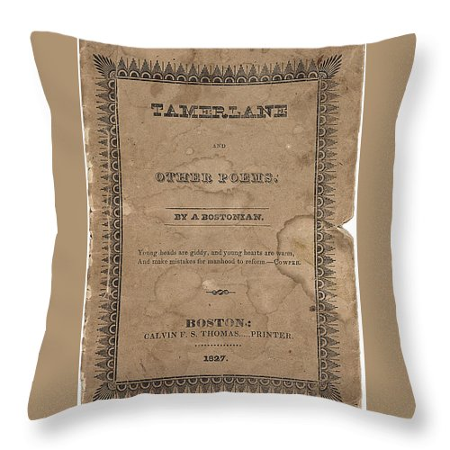 Edgar Throw Pillow featuring the digital art Cover Of Tamerlane by Philip Ralley