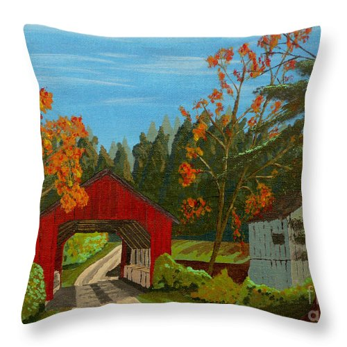 Path Throw Pillow featuring the painting Covered Bridge by Anthony Dunphy