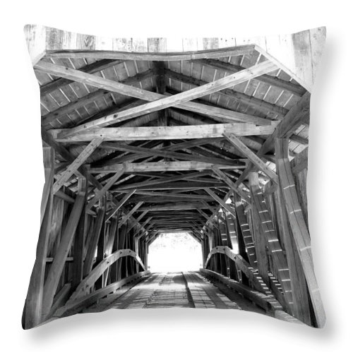 Wooden Bridge Throw Pillow featuring the photograph Covered Bridge Architecture by Barbara McDevitt