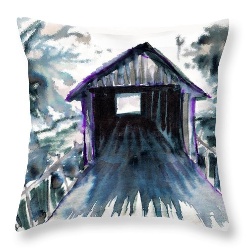 Old South Throw Pillow featuring the digital art Covered Bridge by Seth Weaver