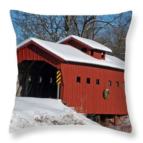 Covered Bridge Throw Pillow featuring the photograph Covered Covered Bridge by Janice Adomeit