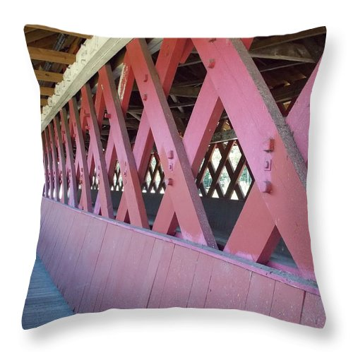 Covered Bridge Throw Pillow featuring the photograph Covered Walkway by Catherine Gagne