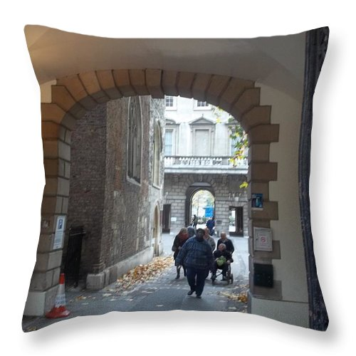 London Throw Pillow featuring the photograph Covered Walkway Of London by James Potts