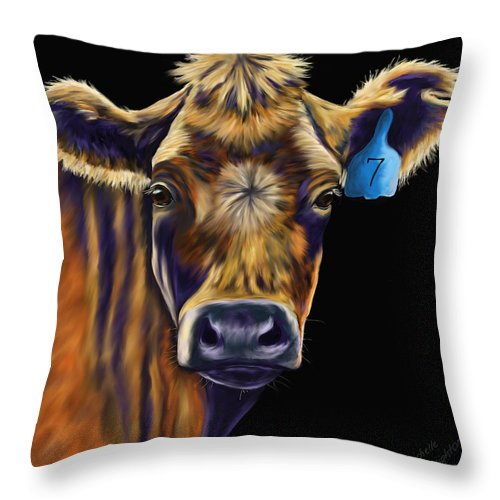 Cows Throw Pillow featuring the painting Cow Art - Lucky Number Seven by Michelle Wrighton