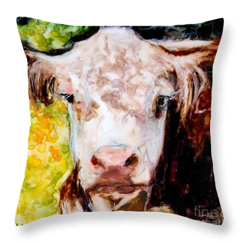 Hereford Throw Pillow featuring the painting Cow Face by Molly Poole
