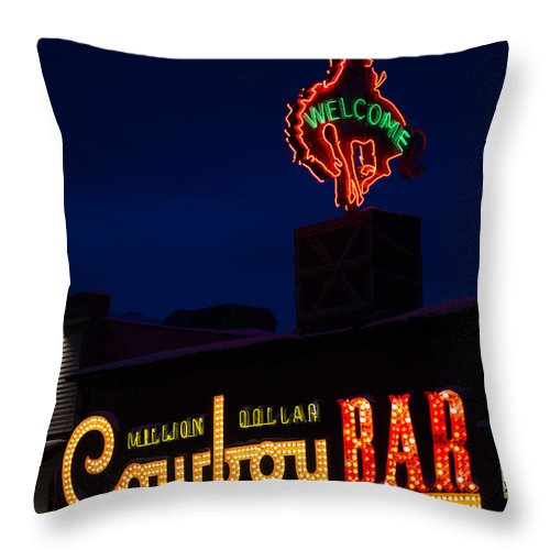 Neon Signs Throw Pillow featuring the photograph Cowboy Bar by Wildlife Fine Art