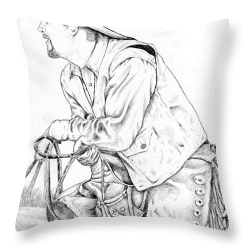 West Throw Pillow featuring the drawing Cowboy by Daniel Jakus