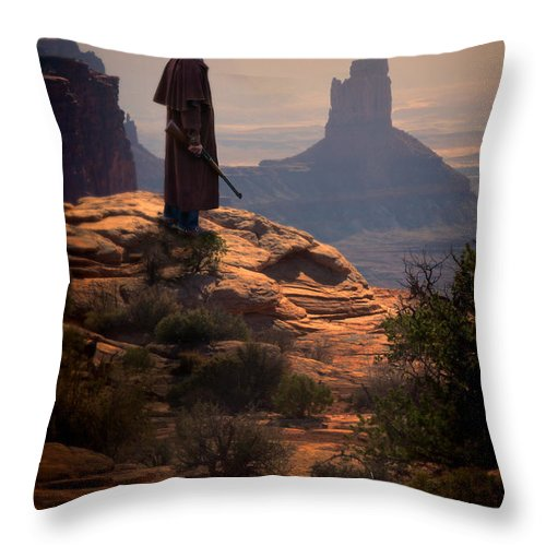 Cowboy Throw Pillow featuring the photograph Cowboy On A Cliff by Jill Battaglia