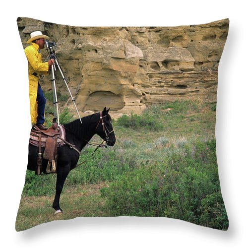 Western Throw Pillow featuring the photograph Cowboy Photographer 2 by Bob Christopher