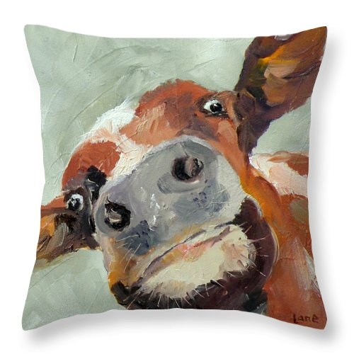 Cows Throw Pillow featuring the painting Cow's Eye View by Saundra Lane Galloway