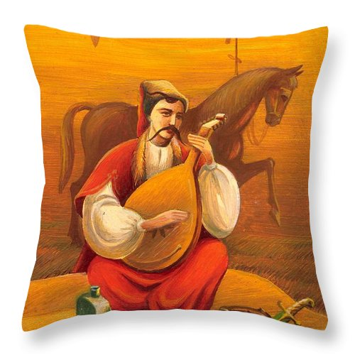 Cossack Mamay Throw Pillow featuring the painting Cossack Mamay by Oleg Zavarzin